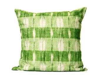 Linen Ikat Plaid Throw Pillow Cover, Ikat Pillows, Linen Pillows, Green Pillows, Plaid Cushions, Summer Home Decor, Modern Pillows, Greenery
