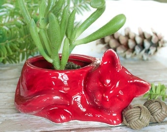 Ruby Red Kitty planter, ceramic succulent planter air plant mini plant pot cat lover Housewarming gift desk decor accessory