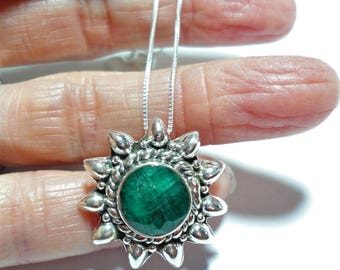 "Emerald Pendant Rough Cut Round Genuine Emerald in Sterling Sunburst Pendant on 18"" Sterling Silver Box Chain"