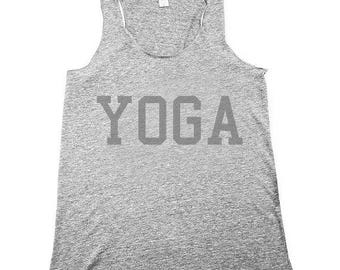 yoga shirt, yoga tank top, yoga shirt, sunrise salutation, namaste, heather grey tank top, Small, Medium, Large, XL, 2X