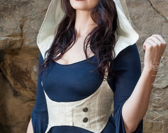 "NEW: The ""Faux"" Vegan Leather Underbust Vest/Harness w/DETACHABLE Pixie Hood in Ivory Cream by Opal Moon Designs (Size S-XXL)"