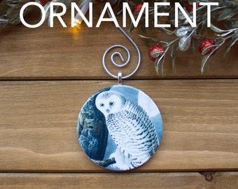 Snowy Owl Ornament, Christmas Tree Decoration, Tree Ornament, Vintage Ornament, Owl Gift, Christmas Gift, Stocking Stuffer, Free Shipping