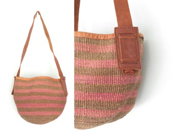 Vintage Market Bag * Woven Jute Tote * Shoulder Bag Purse
