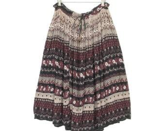 Vintage Gypsy Skirt * 70s Gauze Midi Skirt * Boho Floral India Skirt * Medium - Large