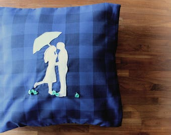 Kiss me in the rain - Decorative Pillow - Kiss me under the umbrella - couple silhouette - blue and plaid