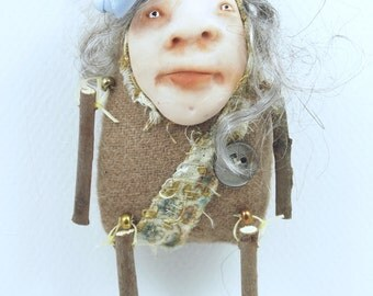 Folk Art Doll Ornament holiday christmas coth clay miniature doll #50