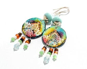 Lampwork Bead Earrings. Light Green Boho-Tribal Earrings. Artisan Clay Charms. Long Dangle Earrings. Gifts For Her. Glass Bead Jewelry.