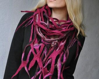 Handmade nuno felted Scarf Shawl - Purple Black red - Web Net Wool merino - Art OOAK - Felt Scarf Handcrafted - Winter Shawl - Black Red