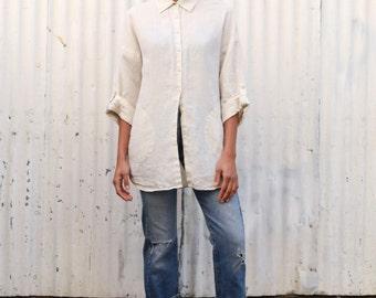 Vintage Painter's 1990's Conductor Stripe Tan Linen Oversize Button Up Shirt Blouse S/M/L