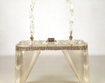 Vintage 50s Purse, Lucite Top Handle Handbag,  Rhinestone Trim, Box Purse, Carved Top, Rockabilly, Prom, Bridal, VLV, Burlesque, Marilyn