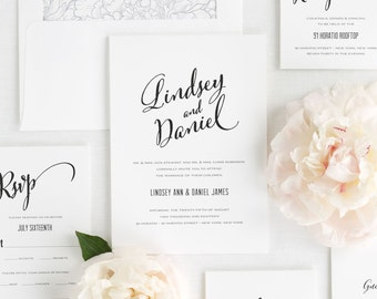 Modern Script Wedding Invitations - Sample