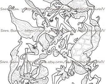 Adult Coloring Book ONE SINGLE PAGE to Color 8.5 by 11 Inches, 4 Cute Fairy Faeries Ladies Women, Colored Pencil Ink Fantasy Faerie Pixy Fae