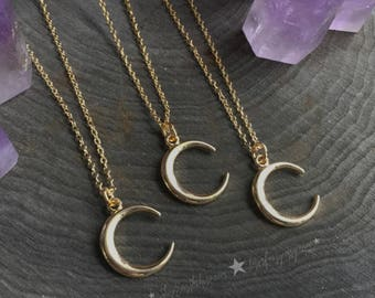 "Gold Crescent Moon necklace on 18"" dainty gold chain"