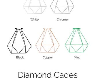 CAGE ONLY  Diamond Lamp Shade Pendant Lamp Guard Pendant Light Cage Bulb Guard Lighting, Copper, Mint Turquoise, White or Black