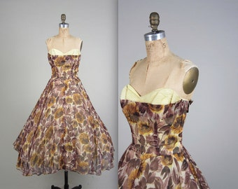 1950s strapless party dress • vintage 50s dress • floral prom dress