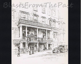 NEW YORK Pencil Sketch Vintage Print with 11 x 14 mat, Manhattan, Gramercy Park, Brownstone, The Players, Architecture, Buildings, NY