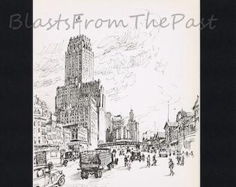 NEW YORK Pencil Sketch Vintage Print with 11 x 14 mat, Manhattan, West Street, Washington Market, Skyscraper, Architecture, Buildings, NY