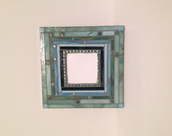 """10"""" Mosaic Mirror shades of blue and light green"""