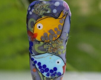 Glass focal bead , lampwork glass bead , fish bead , purple bead , multicoloured, artisan focal bead ,
