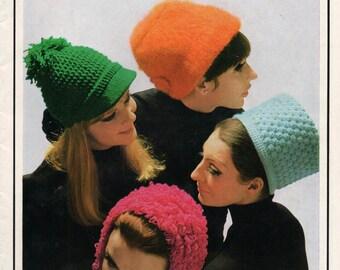1960s Knitting Crochet Patterns Booklet Patons 838 Mod Hats Berets Vintage ORIGINALS not PDF copy