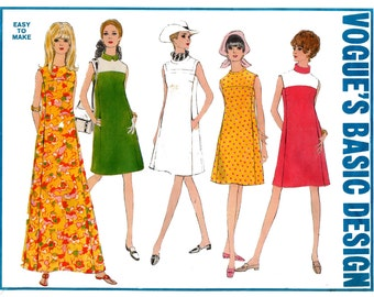 60s Vogue 1924 A Line Dress Maxi Dress High Neckline or Collar Vintage Sewing Pattern Size 12 Bust 34 inches