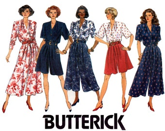 Butterick 5370 Womens Pleated Pants Culottes & Shirt 90s Vintage Sewing Pattern Size 12 14 16 Bust 34 36 38 inches UNCUT factory Folded