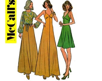70s Halter Maxi Dress & Blouse Pattern McCall's 3636 Size 10 Bust 32 1/2 inches