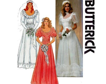 80s Wedding Dress Pattern Butterick 4765 Full Skirt Neck Frills Puffy Sleeves Ruffles Size 12 Bust 34 inches UNCUT Factory Folded