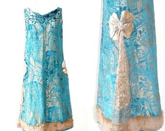 1920s Metallic Lamé Burnout Velvet Dress, 20s Dress, Flapper Dress, Art Deco Gold Turquoise 1920s Party Dress with Fortuny Pleats & Fur