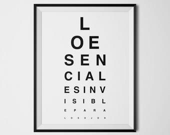 El Principito, Lo esencial es invisible para los ojos, El Principito Poster, El Principito Art Print, Tabla de Vision Ocular, Spanish Quotes