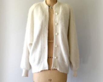 1980s Vintage Jacket - 80s Winter White Angora Cardigan Sweater Jacket