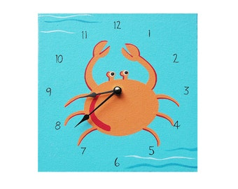 Children's Clock - Custom Hand Painted Kids Wooden Wall Clock - Ocean Crab or Any Room Decor Theme - 6 inch 8 inch or 10 inch