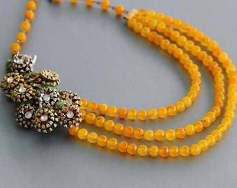 Daisy Bouquet Statement Necklace with Yellow Jade Drapes
