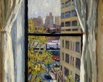 Moring Coffee, Window Toward The Bronx, NYC. 11x14 Oil Painting on Panel, American Impressionist Fine Art, Signed Realist Original Fine Art