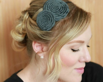 Handmade Headband Flower, Charcoal Gray Hairband,  Gray Headband for Women