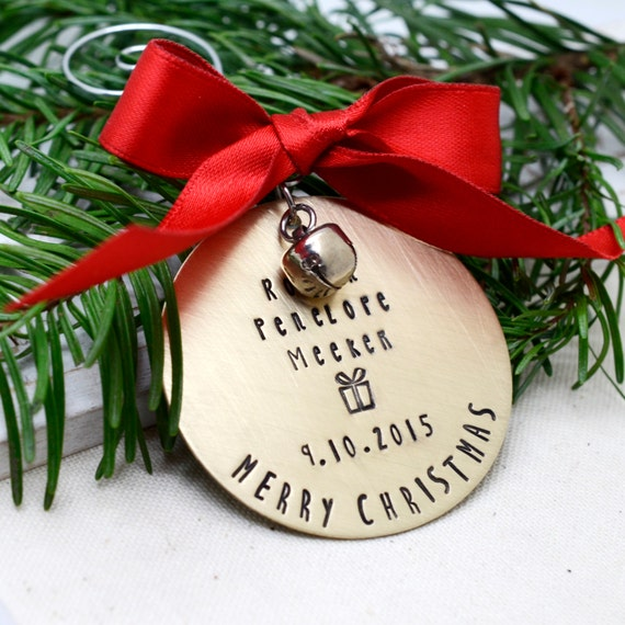 Personalized Brass Christmas Ornament, Hand Stamped Christmas Ornament, Custom Metal Ornament, Family Ornament
