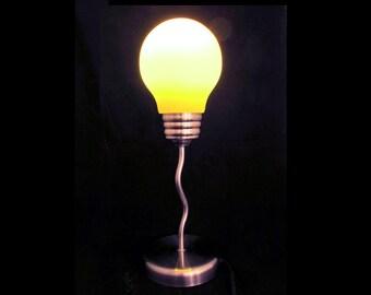 Novelty Lamp 1990s Oversized Light Bulb - Frosted Glass Light Bulb Shade - Giant Light Bulb - Yellow Desk Lamp - Lighting - Idea Lamp