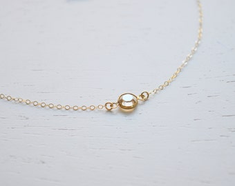 Tiny Pebble Necklace - pale gold swarovski crystal round diamond gem gold filled chain dainty - simple everyday jewelry - adenandclaire