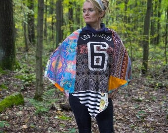 Sustainable Patchwork Poncho One Size
