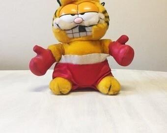 Boxing Garfield plush, vintage Garfield, vintage plush, Garfield collectible, Jim Davis, stuffed Garfield, Garfield toy, 1980s plush cat,