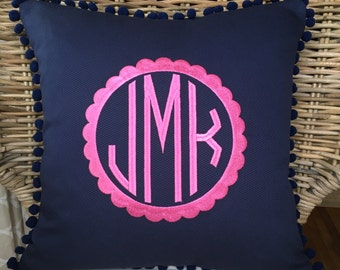 Monogrammed Pique Pom Pom Pillow Cover