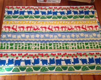 Barnyard Animals Fabric Cows Horses Pigs Chickens Children Baby Nursery Cotton Quilting