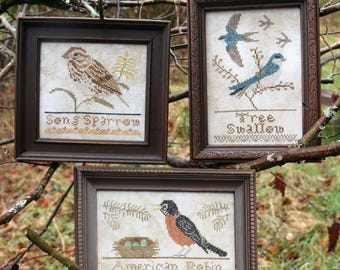 The Bird Collection, Part IV: American Robin, Song Sparrow, Tree Swallow. Cross Stitch Pattern by Heartstring Samplery