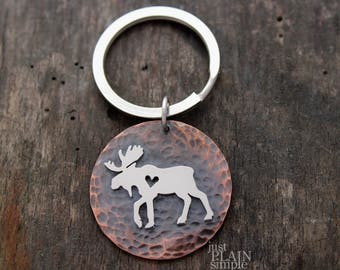 Moose Keychain, Moose accessories, Moose gifts for men and women, heart Moose accessories
