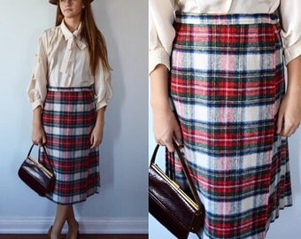 Vintage Plaid Skirt, Mister Leonard, Plaid Pleated Skirt, Pleated Skirt, 1970s Skirt, 1970s Fall Skirt