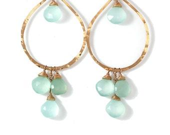 Blue Chalcedony Earrings - Aqua Chalcedony and Gold Fill Chandelier Hoop Earrings - Blue Green Earrings - Large Chalcedony Cluster Earrings