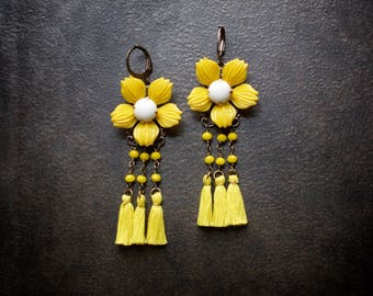 Retro Yellow Flower Earrings Tassel Rosary Chain Crystal Boho Festival Camel Swag Brass Bohemian Upcycled Repurposed Jewelry Assemblage