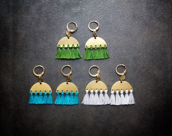 Boho Tassel Earring Tiny Micro Fringe Festival Jewelry Aqua White Green Brass Gypset Dangle Saddle Bohemian Modern Geometric