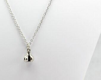 Silver Garlic Necklace - Silver Food Necklace, Silver Cooking Necklace, Garlic Lover Necklace, Vampire Protection Necklace