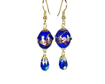 Royal Blue Dangle Earrings, Bead Dangle Earrings, Glass Beads, Cobalt Blue, Handmade Artisan Jewelry